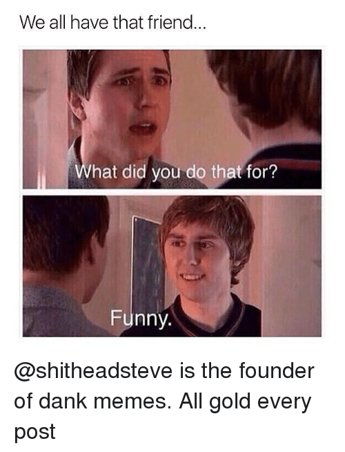 Dank, Funny, and Memes: We all have that friend.  What did you do that for?  Funny. @shitheadsteve is the founder of dank memes. All gold every post