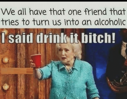That One Friend: We all have that one friend that  tries to turn us into an alcoholic  Isaid drink it bitch!