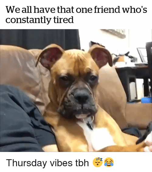 Tbh, One, and Friend: We all have that one friend who's  constantly tired Thursday vibes tbh 😴😂