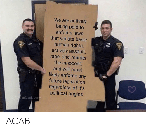 human rights: We are actively  being paid to  enforce laws  that violate basic  human rights,  actively assault,  rape, and murder  the innocent,  and will most  likely enforce any  future legislation  regardless of it's  political origins  IG AmericanLiberty ACAB