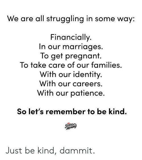Dank, Pregnant, and Patience: We are all struggling in some way:  Financially  n our marriages  To get pregnant.  To take care of our families,  With our identity  With our careers.  With our patience.  So let's remember to be kind. Just be kind, dammit.