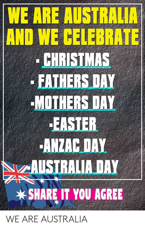 Christmas, Easter, and Fathers Day: WE ARE AUSTRALIA  AND WE CELEBRATE  CHRISTMAS  FATHERS DAY  MOTHERS DAY  EASTER  ANZAC DAY  AUSTRALIA DAY  SHARE IT YOU AGREE WE ARE AUSTRALIA
