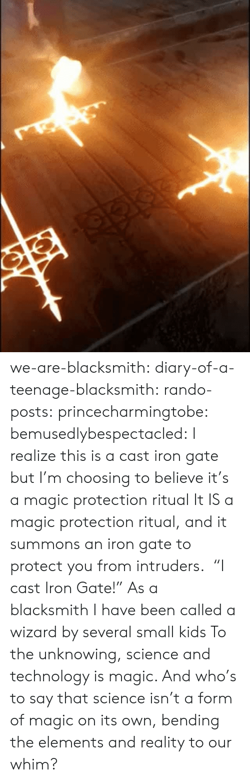 "Tumblr, Blog, and Kids: we-are-blacksmith: diary-of-a-teenage-blacksmith:   rando-posts:   princecharmingtobe:  bemusedlybespectacled: I realize this is a cast iron gate but I'm choosing to believe it's a magic protection ritual It IS a magic protection ritual, and it summons an iron gate to protect you from intruders.    ""I cast Iron Gate!""   As a blacksmith I have been called a wizard by several small kids   To the unknowing, science and technology is magic. And who's to say that science isn't a form of magic on its own, bending the elements and reality to our whim?"