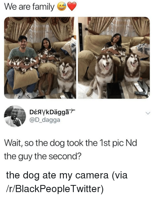 We Are Family Wait So the Dog Took the 1st Pic Nd the Guy