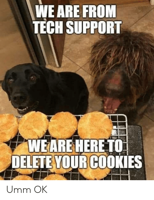 Cookies, Tech Support, and Umm Ok: WE ARE FROM  TECH SUPPORT  WEARE HERE TO  DELETE YOUR COOKIES Umm OK