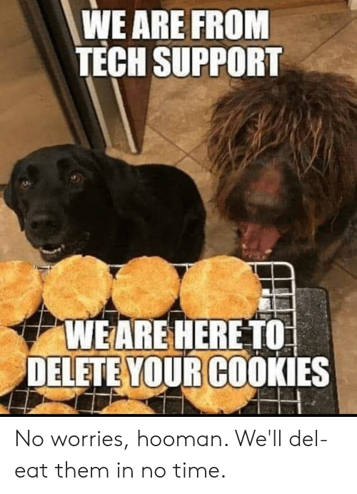 Cookies, Dank, and Time: WE ARE FROM  TECH SUPPORT  WEARE HERE TO  DELETE YOUR COOKIES No worries, hooman. We'll del-eat them in no time.