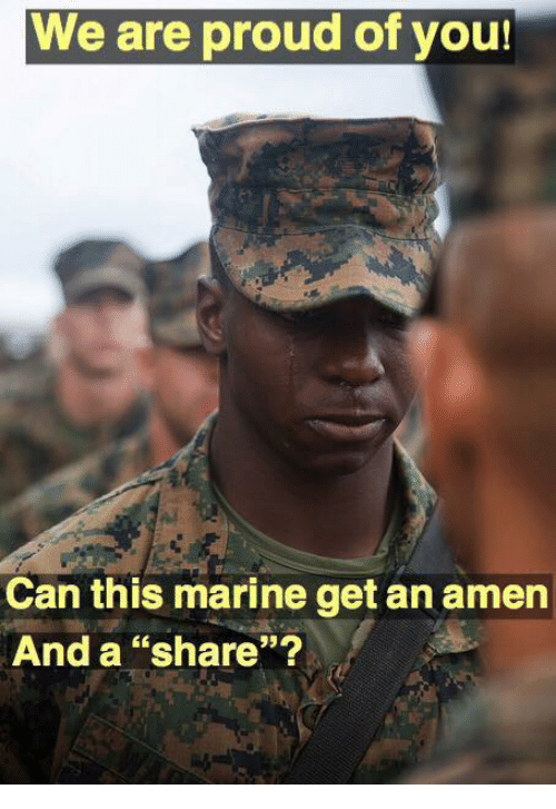 """Memes, Proud, and 🤖: We are proud of you!  cn  Can this marine get an amern  And a """"share""""?"""