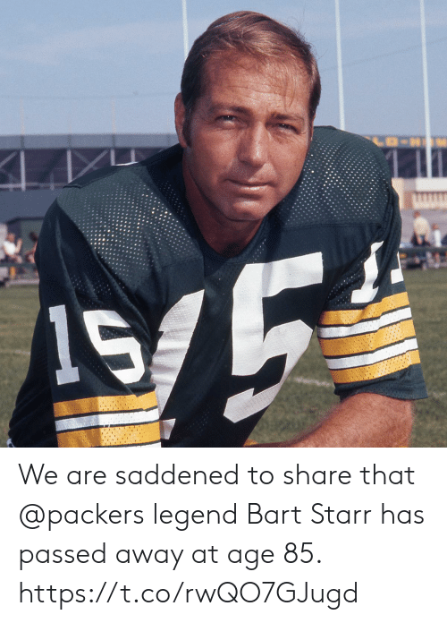 Memes, Bart, and Packers: We are saddened to share that @packers legend Bart Starr has passed away at age 85. https://t.co/rwQO7GJugd
