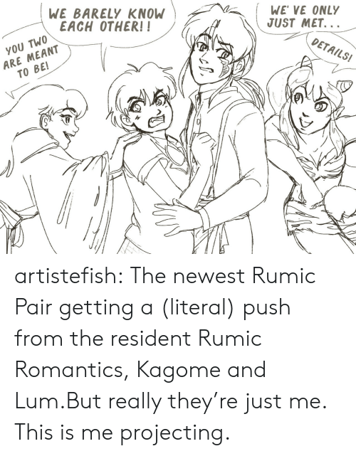 Projecting: WE BARELY KNOW  EACH OTHER!!  WE VE ONLY  JUST MET...  ARE MEANT  TO BE!  YOU TWO  DETAILS! artistefish:  The newest Rumic Pair getting a (literal) push from the resident Rumic Romantics, Kagome and Lum.But really they're just me. This is me projecting.