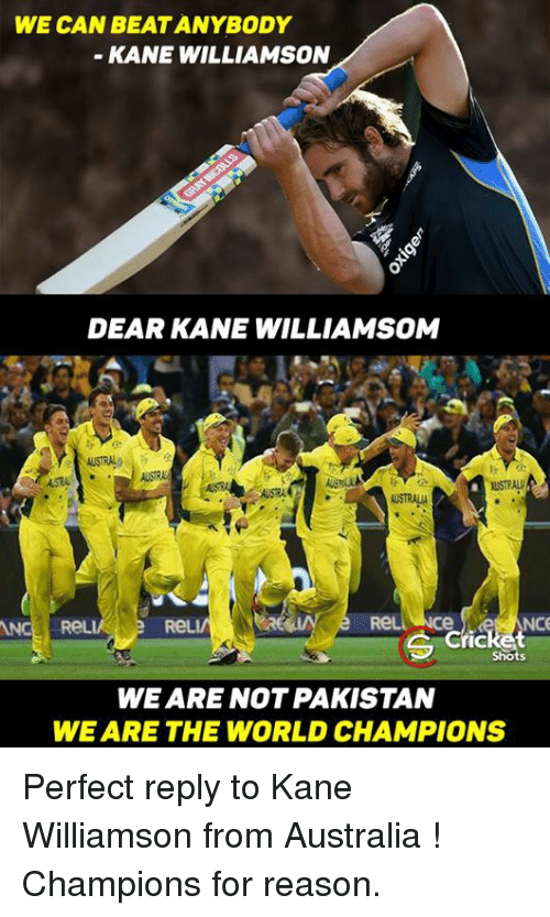 Kane Williamson: WE CAN BEAT ANYBODY  KANE WILLIAMSON  DEAR KANE WILLIAMSOM  WSTRALV  NCe  icket  Shots  WE ARE NOT PAKISTAN  WE ARE THE WORLD CHAMPIONS Perfect reply to Kane Williamson from Australia !  Champions for reason.