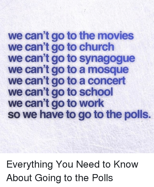 go to school: we can't go to the movies  we can't go to church  we can't go to synagogue  we can't go to a mosque  we can't go to a concert  we can't go to school  we can't go to work  so we have to go to the polls. Everything You Need to Know About Going to the Polls