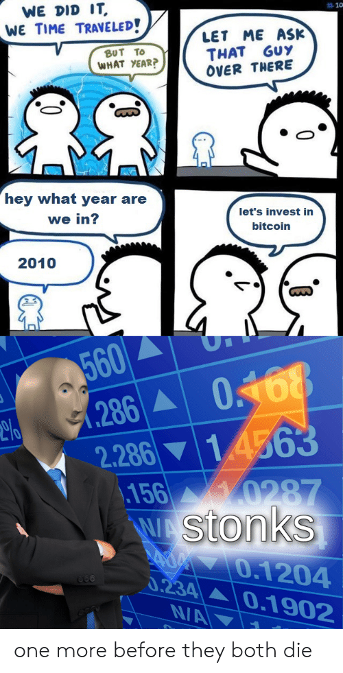 Time, Bitcoin, and Ask: WE DID IT  WE TIME TRAVELED!  10  ME ASK  LET  THAT GUY  OVER THERE  βυT Το  WHAT YEAR?  hey what year are  let's invest in  we in?  bitcoin  2010  560  (286  2.286 14563  156 0287  WAStonks  AOM7O.1204  0.234 0.1902  660  N/A one more before they both die