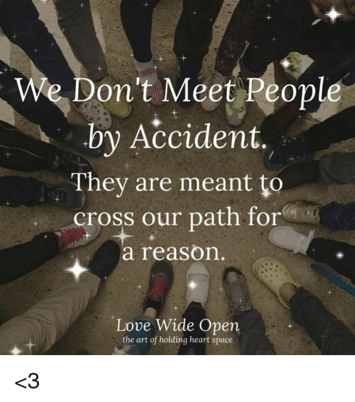Love, Memes, and Cross: We Don't Meet People  by Accident,  They are meant to  cross our path for  a reason  Love Wide Open  the art of holding heart space <3