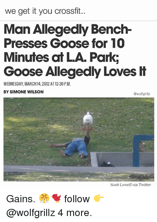 Memes, Twitter, and Crossfit: we get it you Crossfit.  Man Allegedly Bench  Presses Goose for 10  Minutes at LA Park;  Goose Allegedly Loves it  WEDNESDAY, MARCH 14, 2012 AT12:30P.M.  BY SIMONE WILSON  @wolf grillz  Scott Lowell via Twitter Gains. 😤🐦 follow 👉@wolfgrillz 4 more.