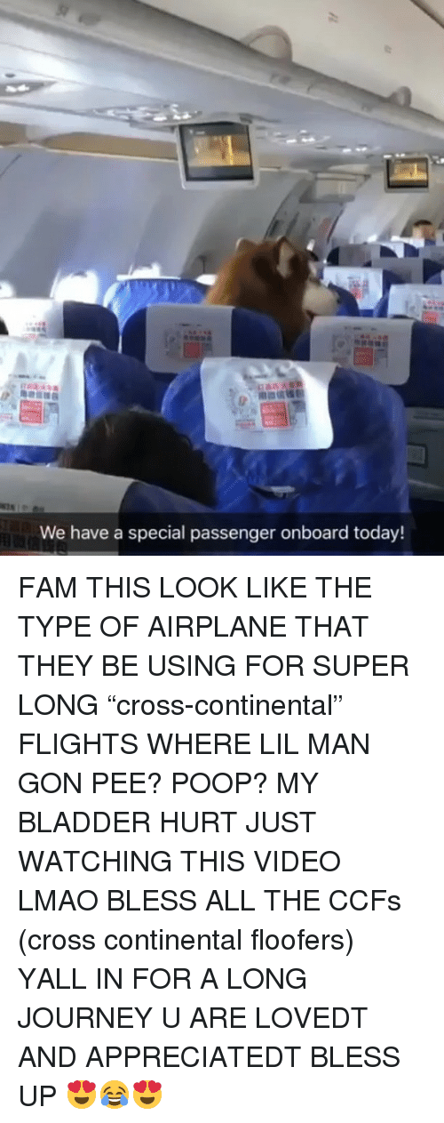 "Bless Up, Fam, and Journey: We have a special passenger onboard today! FAM THIS LOOK LIKE THE TYPE OF AIRPLANE THAT THEY BE USING FOR SUPER LONG ""cross-continental"" FLIGHTS WHERE LIL MAN GON PEE? POOP? MY BLADDER HURT JUST WATCHING THIS VIDEO LMAO BLESS ALL THE CCFs (cross continental floofers) YALL IN FOR A LONG JOURNEY U ARE LOVEDT AND APPRECIATEDT BLESS UP 😍😂😍"