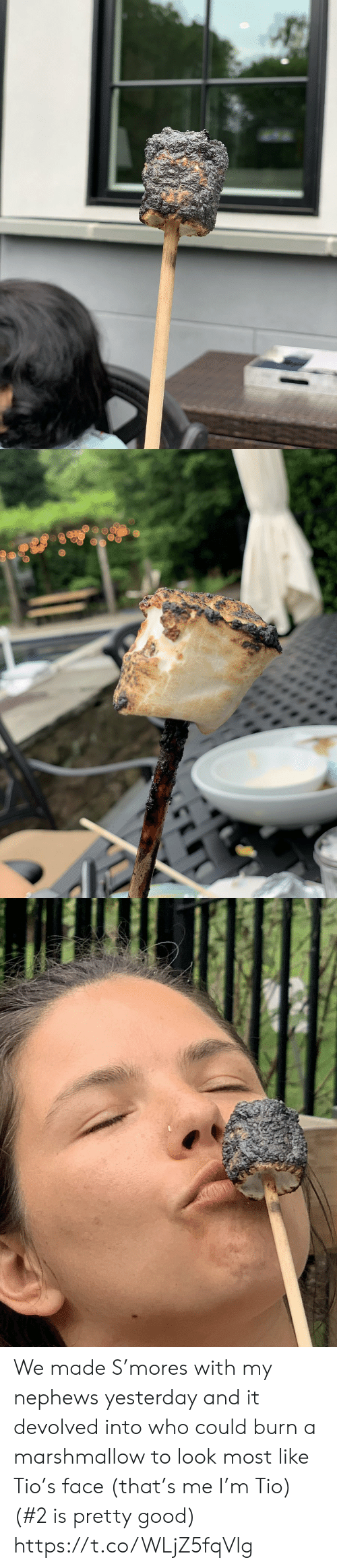 Memes, Good, and 🤖: We made S'mores with my nephews yesterday and it devolved into who could burn a marshmallow to look most like Tio's face  (that's me I'm Tio) (#2 is pretty good) https://t.co/WLjZ5fqVlg