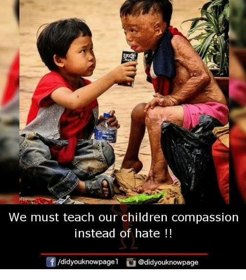 Children, Memes, and Compassion: We must teach our children compassion  instead of hate !!  /didyouknowpagel  】@didyouknowpage