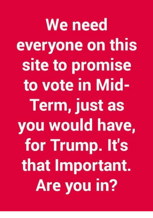 Memes, Trump, and 🤖: We need  everyone on this  site to promise  to vote in Mid  Term, just as  you would have,  for Trump. It's  that Important.  Are you in?