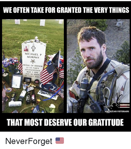 Memes, Afghanistan, and American: WE OFTEN TAKE FOR GRANTED THE VERY THINGS  MICHAEL P  MURPHY  MEDAL OF HONOR  LT US NAVY  AFGHANISTAN  MAY 7 1976  JUN 28 2005  US NAVY SEAL  AMERICAN.VETERANS  THAT MOST DESERVE OUR GRATITUDE NeverForget 🇺🇸
