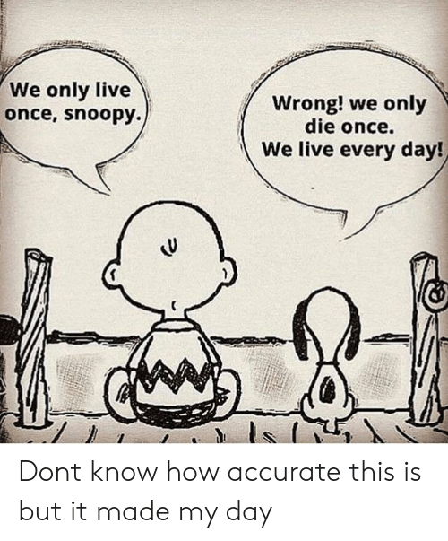 Live, Snoopy, and How: We only live  once, snoopy.)  Wrong! we only  die once.  We live every day! Dont know how accurate this is but it made my day