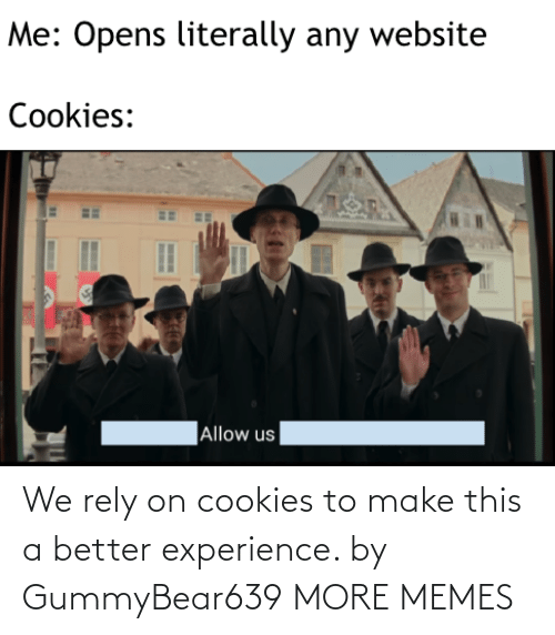 Cookies: We rely on cookies to make this a better experience. by GummyBear639 MORE MEMES
