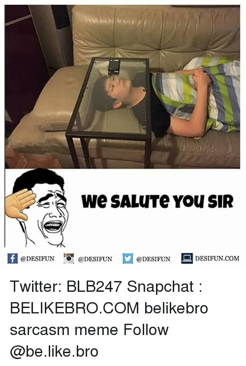 Be Like, Meme, and Memes: We SALUTe YOU SIR  @DESIFUN  DESIFUN.COMM Twitter: BLB247 Snapchat : BELIKEBRO.COM belikebro sarcasm meme Follow @be.like.bro