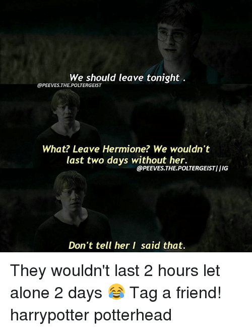 Being Alone, Hermione, and Memes: We should leave tonight  @PEEVES THE POLTERGEIST  What? Leave Hermione? We wouldn't  last two days without her.  @PEEVES. THE POLTERGEISTIIIG  Don't tell her I said that. They wouldn't last 2 hours let alone 2 days 😂 Tag a friend! harrypotter potterhead