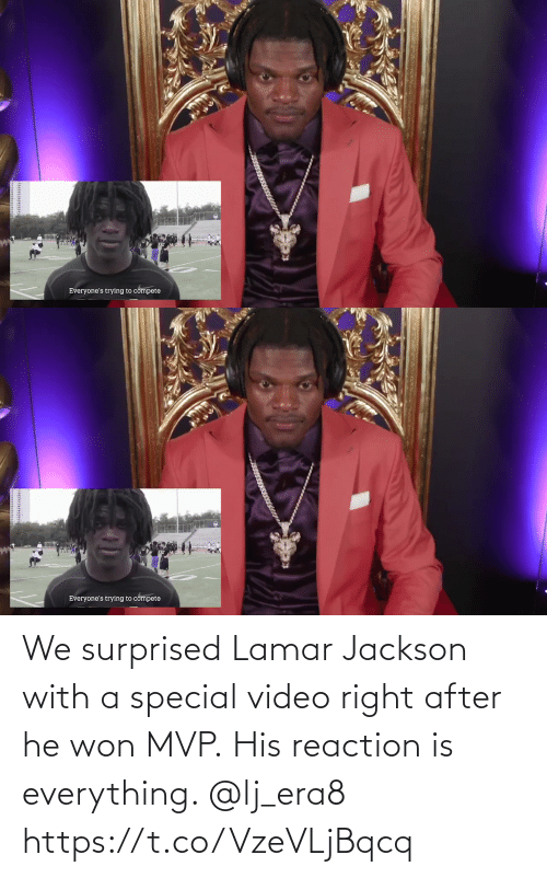 Video: We surprised Lamar Jackson with a special video right after he won MVP.  His reaction is everything. @lj_era8 https://t.co/VzeVLjBqcq