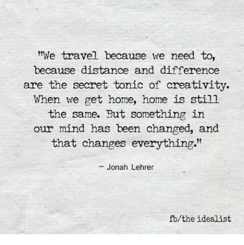 """tonic: We travel because we need to,  because distance and difference  are the secret tonic of creativity.  When we get home, home is still  the same. But something in  our mind has been changed, and  that changes everything.""""  - Jonah Lehrer  fb/the idealist"""