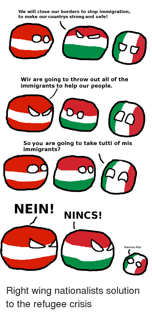 Help, Immigration, and Strong: We will close our borders to stop immigration,  to make our countrys strong and safe!  Wir are going to throw out all of the  immigrants to help our people.  So you are going to take tutti of mis  immigrants?  NEIN! NINCS!  Mama Mia!