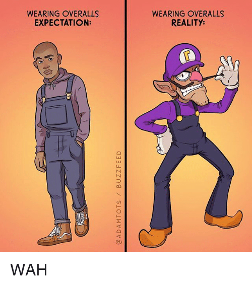 Memes, Reality, and 🤖: WEARING OVERALLS  EXPECTATION:  WEARING OVERALLS  REALITY:  6 WAH