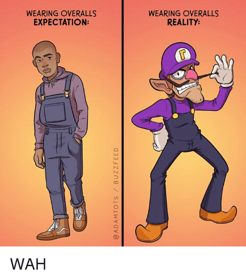 Memes, Reality, and 🤖: WEARING OVERALLS  EXPECTATION:  WEARING OVERALLS  REALITY: WAH