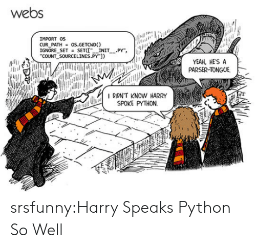 "Tumblr, Yeah, and Blog: webs  IMPORT OS  CUR PATHOS.GETCND)  IGNORE SETSETI INIT PY"",  COUNT SOURCELINES.PY])  YEAH, HESA  PARSER-TONGUE  IDIDN'T KNOW HARRY  SPOKE PYTHON. srsfunny:Harry Speaks Python So Well"