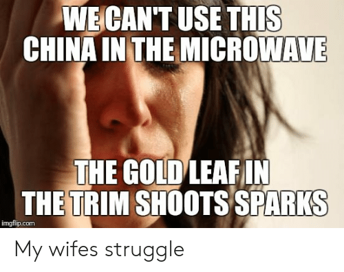 Struggle, China, and Wife: WECANT USE THIS  CHINA IN THE MICROWAVE  THE GOLDLEAFIN  THETRIM SHOOTS SPARKS  imgflip.com My wifes struggle
