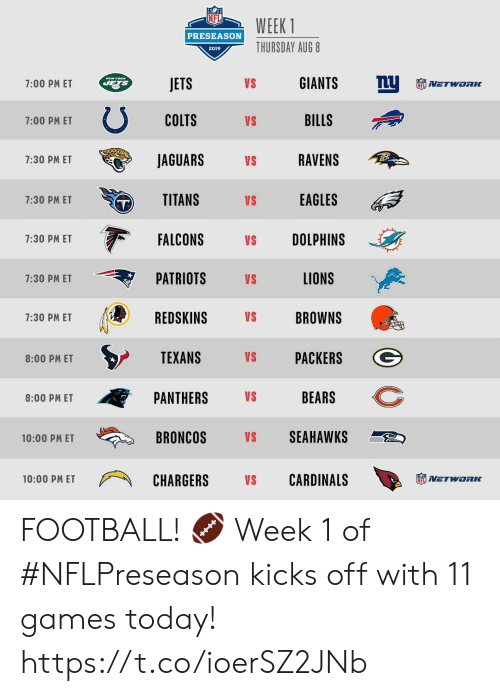Indianapolis Colts, Philadelphia Eagles, and Football: WEEK 1  PRESEASON  THURSDAY AUG 8  2019  nU  GIANTS  MEW YORK  JETS  VS  7:00 PM ET  NETWORC  COLTS  BILLS  VS  7:00 PM ET  JAGUARS  RAVENS  7:30 PM ET  VS  TITANS  EAGLES  VS  7:30 PM ET  FALCONS  DOLPHINS  7:30 PM ET  VS  LIONS  PATRIOTS  VS  7:30 PM ET  REDSKINS  VS  BROWNS  7:30 PM ET  TEXANS  PACKERS  VS  8:00 PM ET  BEARS  PANTHERS  VS  8:00 PM ET  SEAHAWKS  BRONCOS  VS  10:00 PM ET  CARDINALS  CHARGERS  10:00 PM ET  VS  NETWORIK FOOTBALL! 🏈  Week 1 of #NFLPreseason kicks off with 11 games today! https://t.co/ioerSZ2JNb
