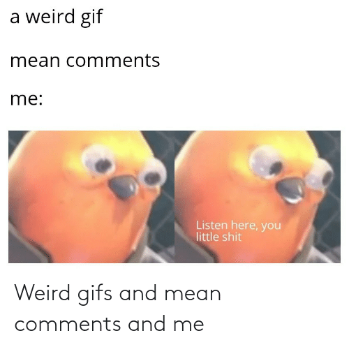 weird: Weird gifs and mean comments and me