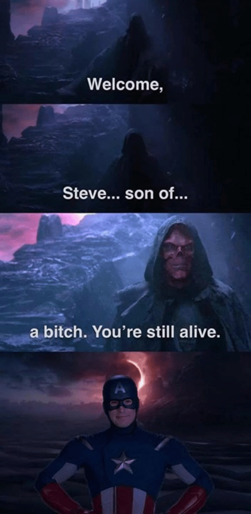 Alive, Bitch, and Memes: Welcome,  Steve... son of..  a bitch. You're still alive.