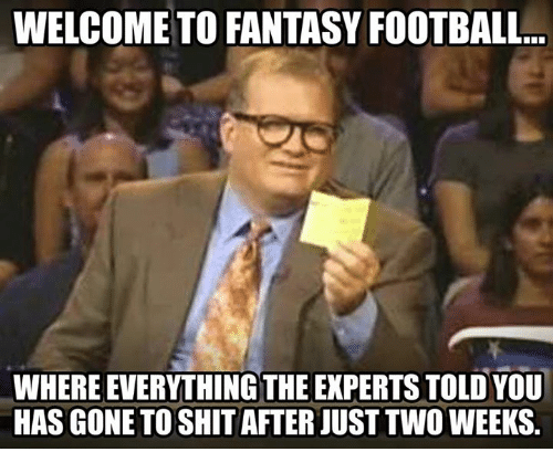 Fantasy Football, Football, and Nfl: WELCOME TO FANTASY FOOTBALL...  WHERE EVERYTHING THE EXPERTS TOLD YOU  HAS GONE TO SHIT AFTER JUST TWO WEEKS.