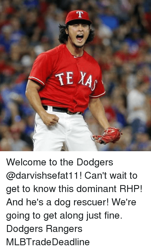 Dodgers, Memes, and Rangers: Welcome to the Dodgers @darvishsefat11! Can't wait to get to know this dominant RHP! And he's a dog rescuer! We're going to get along just fine. Dodgers Rangers MLBTradeDeadline