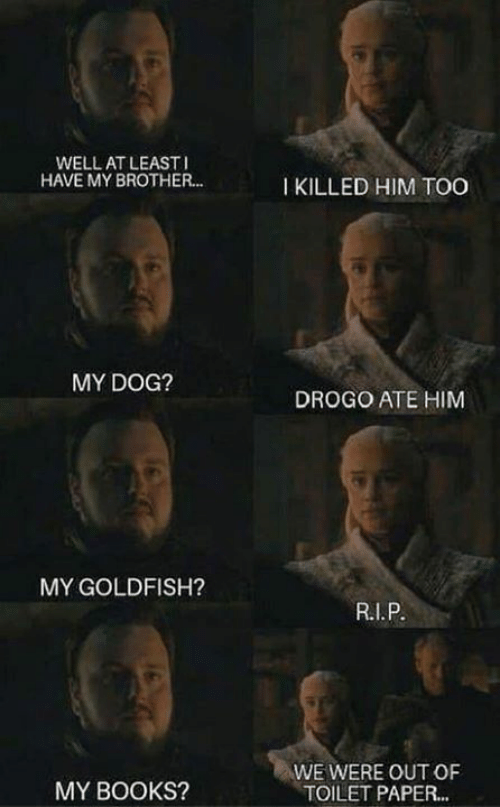 Books, Goldfish, and Memes: WELL AT LEAST  HAVE MY BROTHER..  I KILLED HIM TOO  MY DOG?  DROGO ATE HIM  MY GOLDFISH?  WE WERE OUT OF  TOILET PAPER...  MY BOOKS?