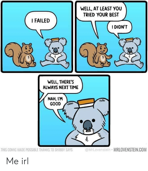 Best, Good, and Time: WELL, AT LEAST YOU  TRIED YOUR BEST  I FAILED  IDIDN'T  WELL, THERE'S  ALWAYS NEXT TIME  NAH, I'M  GOOD S  THIS COMIC MADE POSSIBLE THANKS TO SHIBBY SAYS  @MrLovenstein MRLOVENSTEIN.COM Me irl