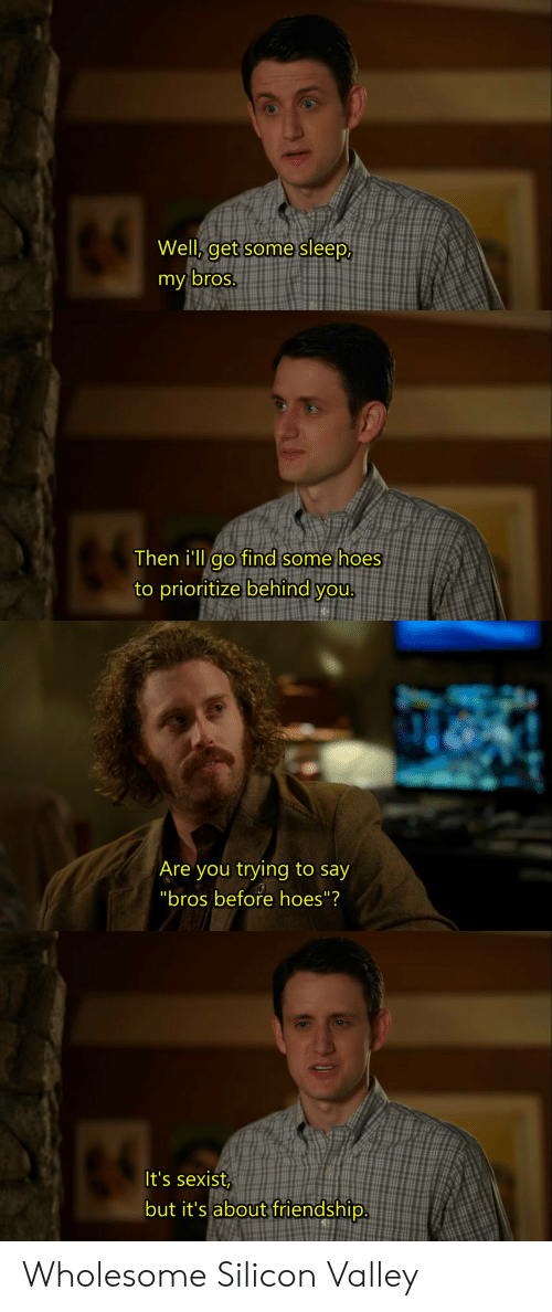 Hoes, Wholesome, and Friendship: Well, get some sleep,  y bros.  Then i'lL ao find some hoes  to prioritize behind you  Are you trying to say  It's sexist  but it's about friendship. Wholesome Silicon Valley