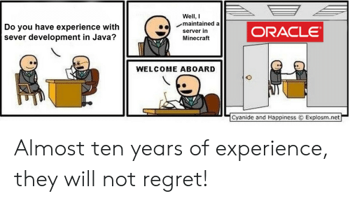 Minecraft, Regret, and Cyanide and Happiness: Well, I  maintained a  Do you have experience with  sever development in Java?  ORACLE  server in  Minecraft  WELCOME ABOARD  Cyanide and Happiness  Explosm.net Almost ten years of experience, they will not regret!