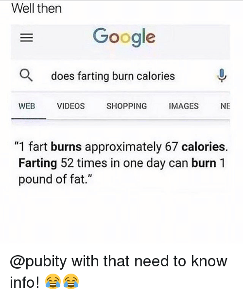 "Google, Memes, and Shopping: Well then  Google  O  does farting burn calories  WEB  VIDEOS  SHOPPING  IMAGES  NE  ""1 fart burns approximately 67 calories.  Farting 52 times in one day can burn 1  pound of fat."" @pubity with that need to know info! 😂😂"