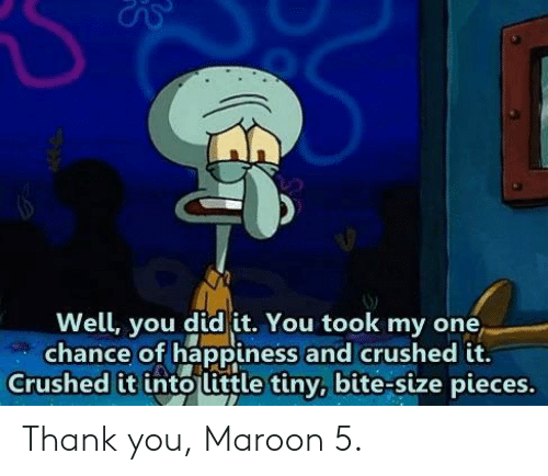 Thank You, Maroon 5, and Happiness: Well, you did it. You took my one  chance of happiness and crushed it.  Crushed it into little tiny, bite-size pieces. Thank you, Maroon 5.