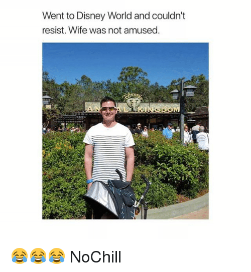 Disney, Disney World, and Funny: Went to Disney World and couldn't  resist. Wife was not amused 😂😂😂 NoChill