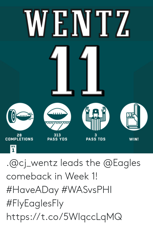 Comeback: WENTZ  11  A  28  COMPLETIONS  313  PASS YDS  3  PASS TDS  WIN!  WK  1 .@cj_wentz leads the @Eagles comeback in Week 1! #HaveADay #WASvsPHI #FlyEaglesFly https://t.co/5WIqccLqMQ