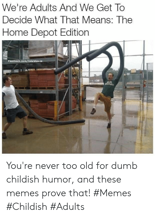 Home Depot: We're Adults And We Get To  Decide What That Means: The  Home Depot Edition  Facebook.com/listables.co You're never too old for dumb childish humor, and these memes prove that! #Memes #Childish #Adults