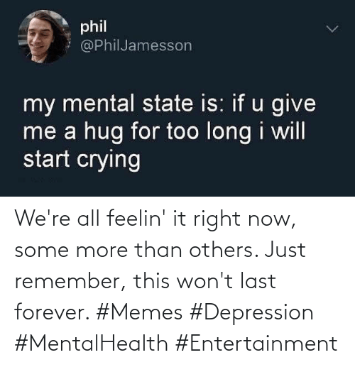 entertainment: We're all feelin' it right now, some more than others. Just remember, this won't last forever. #Memes #Depression #MentalHealth #Entertainment