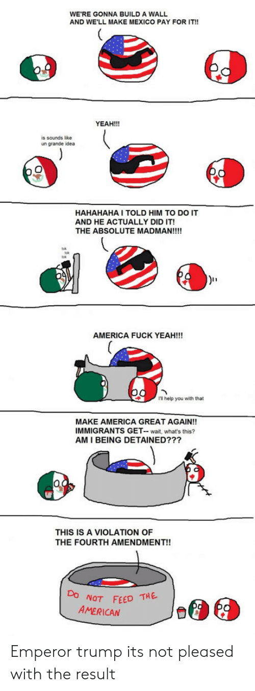 America, Yeah, and American: WE'RE GONNA BUILD A WALL  AND WE'LL MAKE MEXICO PAY FOR IT!!  YEAH!!!  is sounds like  un grande idea  HAHAHAHA I TOLD HIM TO DO IT  AND HE ACTUALLY DID IT!  THE ABSOLUTE MADMAN!!!!  AMERICA FUCK YEAH!!!  I help you with that  MAKE AMERICA GREAT AGAIN!!  IMMIGRANTS GET-wait, what's this?  AM I BEING DETAINED???  THIS IS A VIOLATION OF  THE FOURTH AMENDMENT!!  NOT FEED THE  AMERICAN Emperor trump its not pleased with the result